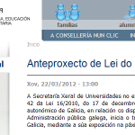 """Aberto prazo de información pública do """"Anteproxecto de Lei do Sistema Universitario de Galicia"""""""