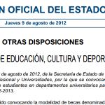 O Ministerio de Educación convoca bolsas de colaboración en departamentos