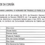 Calendario laboral e horario de traballo para o ano 2013
