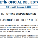 Convocatoria becas MAEC-AECID, para ciudadanos extranjeros en universidades españolas. Curso 2013-2014