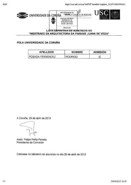 LISTAXE DEFINITIVA DO MESTRADO INTERUNIVERSITARIO DE ARQUITECTURA DA PAISAXE
