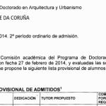 Programa de doutoramento en Arquitectura e Urbanismo. Listaxe provisoria de admitidos