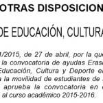 Axudas MECD Erasmus+ 2015.16