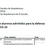 Defensa TFG. Graduado en Estudos de Arquitectura