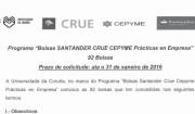 92 Bolsas Santander CRUE CEPYME para prácticas en empresas
