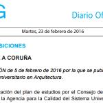 """Publicación do plano de estudos do """"Máster Universitario en Arquitectura"""""""