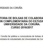 Convocatoria de bolsas de colaboración para formación complementaria do estudantado da UDC 2016-17