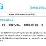 DOG: convocatoria de axudas para a matrícula en másters no curso 2016-17