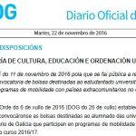 DOG: Resolución da convocatoria de bolsas para programas de mobilidade extra-comunitaria no curso 2016-17