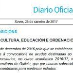 DOG: axudas a alumnos universitarios con dificultades económicas, curso 2016-17