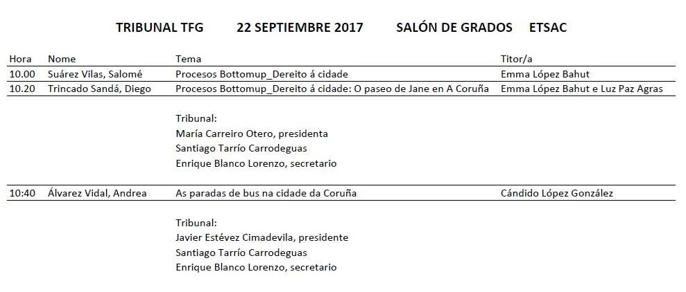 Convocatoria Defensa TFG Grao en Estudos de Arquitectura. Setembro 2017 @ Salón de Graos. Edificio Departamentos. ETSAC
