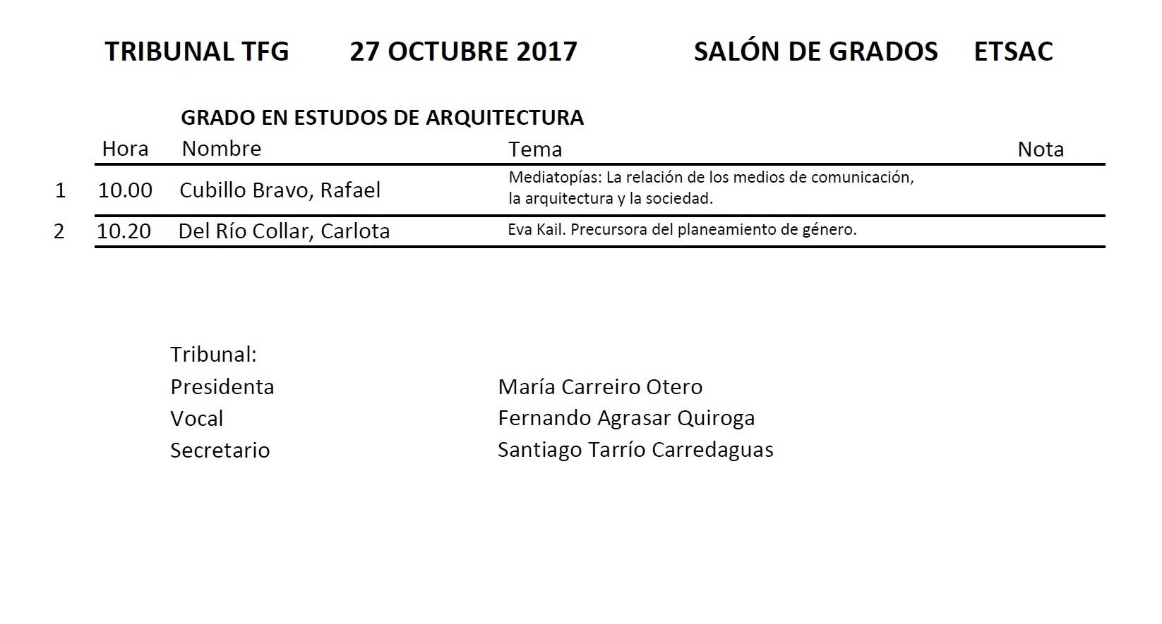 Convocatoria Defensa TFG Grao en Estudos de Arquitectura. Outubro 2017 @ Salón de Graos. Edificio Departamentos. ETSAC