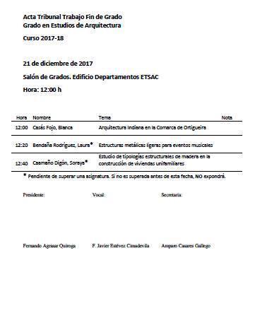 Convocatoria Defensa TFG Grao en Estudos de Arquitectura. 21 decembro 2017 @ Salon de Grados. Edificio Departamentos. ETSAC