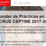 Bolsas Santander CRUE CEPYME 2017-18: ampliación do prazo de solicitude