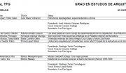 Convocatoria Defensa TFG Grao en Estudos de Arquitectura. 23 outubro 2018