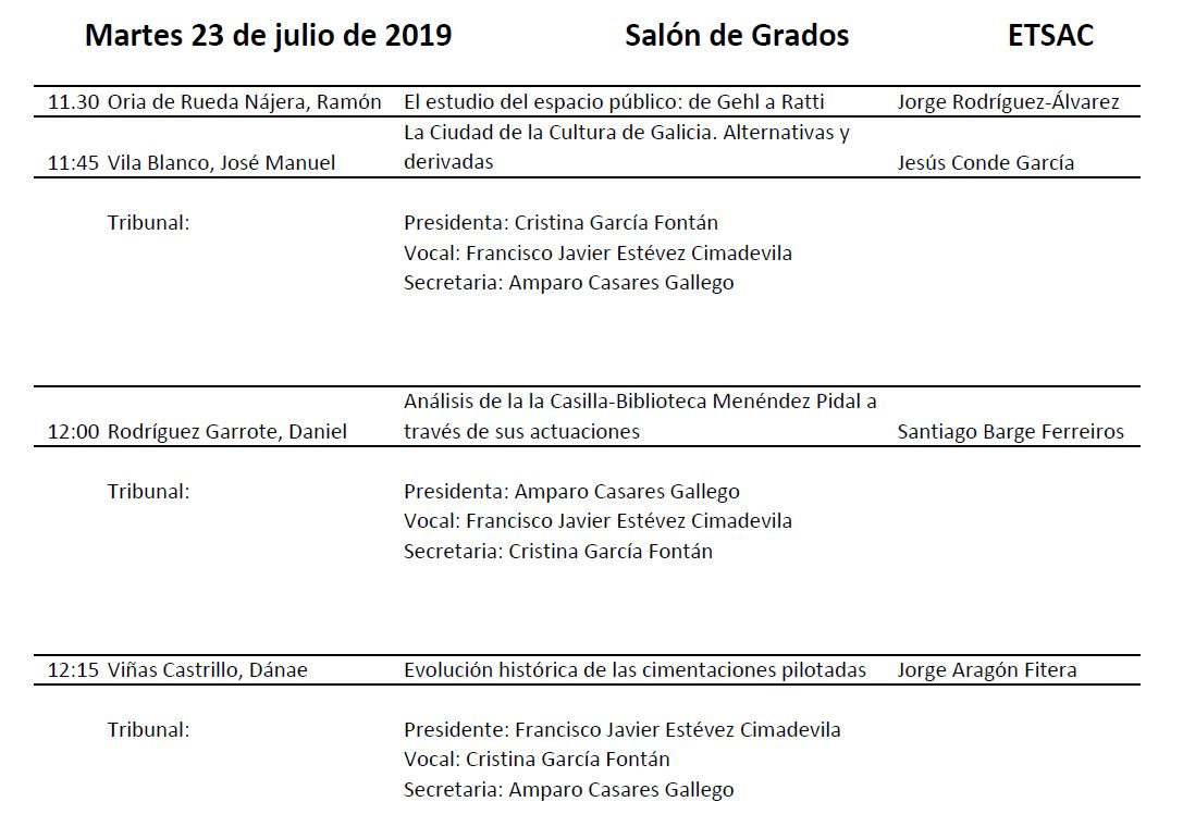 Convocatoria Defensa TFG Grao en Estudos de Arquitectura. 23 xullo 2019 @ Salón de Grados. Edificio Departamentos. ETSAC
