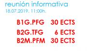 Reunión informativa: itinerarios para a finalización dos estudos en Boloña 1 e Boloña 2. B1.PFG – B2.TFG – B2.TFM