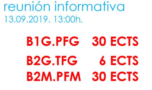 Reunión informativa para a finalización dos estudos en Boloña 1 e Boloña 2. B1.PFG - B2.TFG -B2.TFM @ Salón de actos. ETSAC